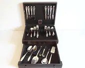 1955 Wm Rogers Tupperware ROSE 48 Piece Silverplate Flatware Set with Naken Box - 48 Piece Service for 8 - 5 Piece Place Setting + 7 Serving
