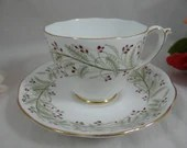 """Vintage Roslyn Hand Decorated English Bone China Teacup """"Whispering Grass""""  English Teacup and Saucer set Delightful Tea Cup"""