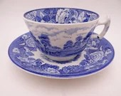 Vintage Enoch Woods English Scenery Teacup and Saucer Set Lovely Blue and White English Tea Cup - 9 Available