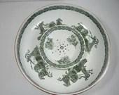 c1902-1922 Vintage Royal Doulton English Bone China Green and White Wash Basin and Soap Dish
