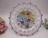 Vintage Lattice Reticulated Happy Anniversary Wedding Plate