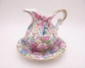 Vintage 1950s Pink Rose Chintz Creamer with Underplate 2179