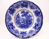 "1891 to 1910 Vintage Adams English Bone China Flow Blue and White ""Fairy Villas"" Serving Bowl"