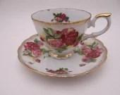 1950s Vintage Japanese Red Rose Teacup Tea Cup