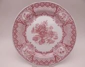 """Vintage Spode Archive Collection Cranberry Dinner Plate """"Seasons"""""""