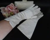 "Vintage Ivory Above the Wrist Length Gloves with Stitched Flower and Stitched Edge Detail are Elegant Off White 12"" Inch Gloves"