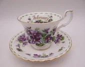 Vintage English Bone China Royal Albert Teacup and Saucer Flower of the Month February English Tea Cup