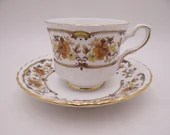 "1950s Vintage English Royal Stafford  ""Cloverlly"" Teacup and Saucer English Tea Cup"