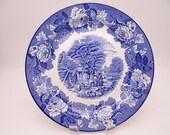 Vintage English Bone China Enoch Woods English Scenery Blue and White Dinner Plate - 8 Available
