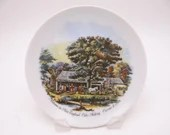 Vintage Currier and Ives Hanging Display Plate New England Cider Making
