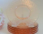 """Set of 5 Lovely Pink Depression Glass Bread and Butter or Dessert Plates - Pretty Pink Glass - 6"""""""