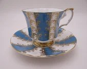 1960s Vintage Elizabethan English Bone China Teal Blue Teacup Footed English Teacup and Saucer Outstanding English Tea cup