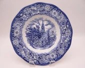 "Vintage Liberty Blue Historic Colonial Scenes Blue and White Rimmed Soup Bowl ""Old North Church"" -  6 available"