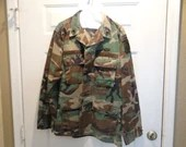 Vintage US Army Airborne Sergeant Men's Parachutist Camo Jacket Chest Size 37 to 41 Medium Regular 18th Aviation Brigade
