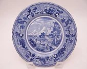 """1950 Vintage Johnson Bros England Historic America Blue and White Bread and Butter Plate """"Covered Wagons"""" - 6 Available"""