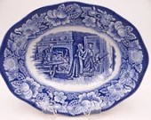 "Vintage Liberty Blue Historic Colonial Scenes Blue and White Oval Vegetable or Serving Bowl ""Minute Men"""