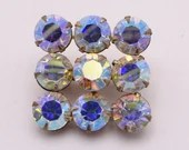 Vintage Aurora Borealis Blue Rhinestone Brooch Pin on Gold Tone Setting
