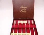 Gorgeous Prestige W.M. Rogers Oneida 24KT Gold Plated Set of 6 Shrimp Cocktail Forks in Original Box