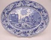 "1950 Vintage Johnson Bros England Historic America Blue and White 12"" Oval Serving Platter ""Barnum's Museum"""