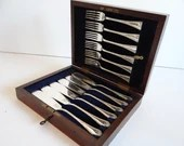 H & H Silverplate Fork and Knife Dessert Pastry Set in Box with Key - 6 Forks and 6 Knives - Elegant Dining Pieces - Elegant Serving Pieces