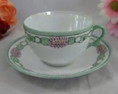 1950s Vintage Japanese Hand Painted  Lusterware Teacup and Saucer Tea Cup