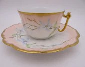 c1900s Spectacular Factory Decorated Hand Painted Bawo Dotter Elite Limoges Tea Cup and Saucer Set  French Teacup - E5