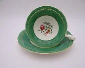 Vintage 1930s Aynsley English Bone China Green Floral Teacup and Saucer B5349 Delightful Tea Cup