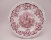 "Vintage Spode Archive Collection Cranberry Dinner Plate ""Ruins"""