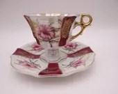 Vintage 1950s Japanese Purple Flower Lusterware Teacup and Saucer Set - Lovely