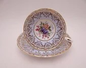 1950s Delightful Paragon English Bone China Blue and Gold Filigree Teacup and Saucer Pretty English Tea Cup