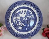 Churchill Made in England Blue and White Blue Willow Ware Dinner Plate 13 Available
