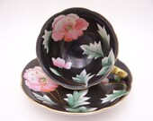Spectacular Hand Painted Vintage Occupied Japan Black and Yellow with Pink Orchid Teacup and Saucer - Just Amazing