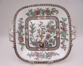 "1890s Hand Painted Vintage Coalport ""Indian Tree"" English Bone China Plate or Sandwich Tray"