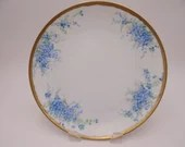 Vintage Thomas Sevres Hand Painted Blue Flower Plate Lovely