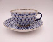 Vintage Imperial Lomonosov USSR Russia Cobalt Net Teacup and Saucer Set Russian Tea Cup