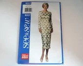 Vintage Butterick See & Sew Pattern #6317 Size 12 14 16 Woman's Long Sleeve High Waist Dress Sewing Pattern Classy Elegant