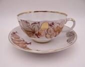 Vintage Imperial Lomonosov My Tulip Garden Gold Teacup and Saucer Set Delightful Russian Gold Tea Cup