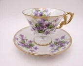 """Vintage Violets """"February"""" Flower of the Month Teacup and Saucer Set Pretty Purple Tea Cup"""