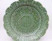 Large Vintage Tiffany & Co Green Majolica Salad or Serving Bowl