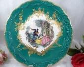 Vintage Green Limoges Cabinet Plate