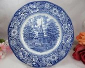 "Vintage Liberty Blue Historic Colonial Scenes Blue and White Dinner Plate ""Independence Hall"" -  19 available"