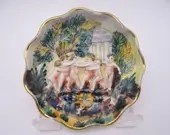 Capodimonte Italy 3D Relief Hand Painted Cherub Small Ruffled Edge Bowl 1506  - 4 Available