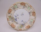 1890s Antique Vintage Factory Decorated Blakeman and Henderson B&H Limoges France Blue and White Floral Cabinet Plate