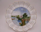 """c1891 to 1896 Antique Vintage Hand Painted Martial Redon Limoges France """"Showery Weather"""" Village Scene Cabinet Plate"""