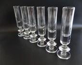 Set of 6 Vintage Clear Glass Elegant Tall Shot Glasses Vodka Shot Glasses