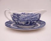 Vintage Liberty Blue Historic Colonial Scenes Blue and White Gravy Boat with Underplate Governor's House and Lafayette Landing