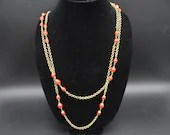 "Miriam Haskell 1950s Signed Crimson Bead and Chain 63"" Long Necklace with Original Tag Beautiful"