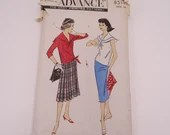 Vintage 1950s Advance Pattern #8518 Size 16 - 1950s Sailor Style Middy Blouse and Slim or Pleated Skirt - Women's Vintage Fashion Pattern