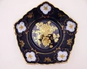 Beautiful Limoge Design Cobalt Blue Gold Rose  Candy or Nut Serving Bowl Dish