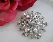 Stunning Rhinestone Brooch with Round Marquis and Tear Drop Shaped Stones - Gorgeous Bling